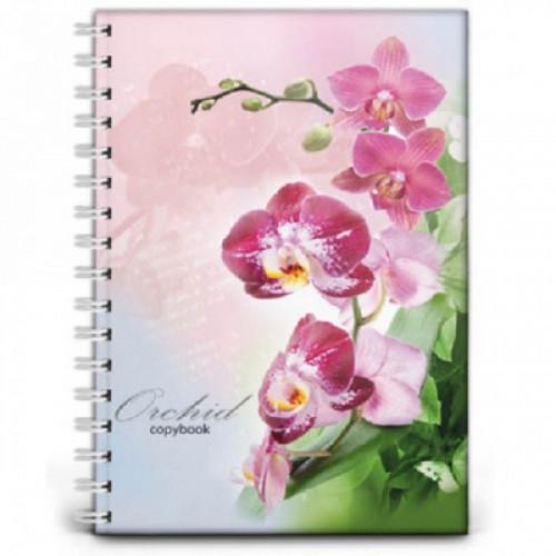 Бизнес-тетрадь 120 листов, клетка ,А4,Орхидея,гребень,глянц.ламинир(120-8106)