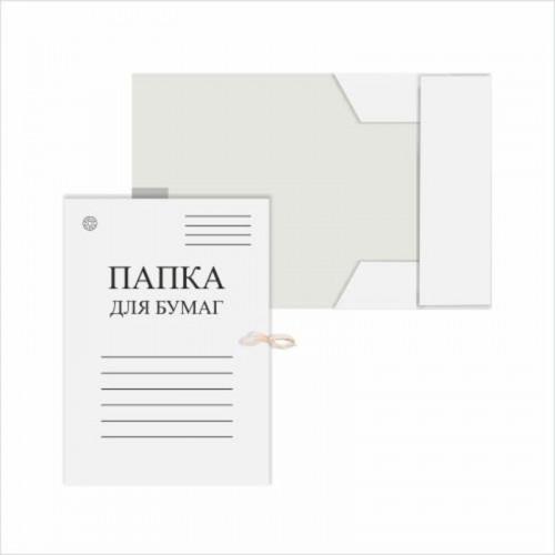 Папка для бумаг с завязками, белая DOLCE COSTO, 280 г/м2, немелованный картон