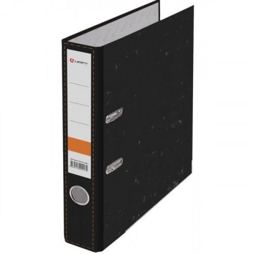 Папка с арочным механизмом 50мм, бумага/бумага, черный мрамор, металл уголок, Lamark