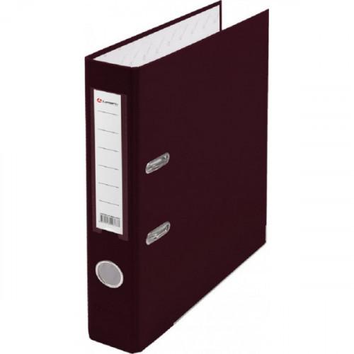 Папка с арочным механизмом 50мм, пвх/бум, бордовая, металл уголок, карман на корешке, Lamark
