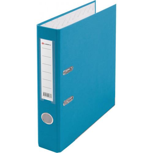 Папка с арочным механизмом 50мм, пвх/бум, голубая, металл уголок, карман на корешке, Lamark