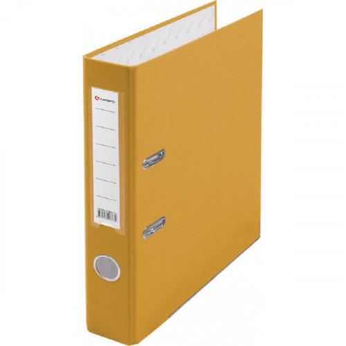 Папка с арочным механизмом 50мм, пвх/бум, желтая, металл уголок, карман на корешке, Lamark