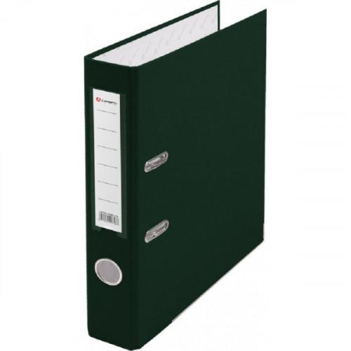 Папка с арочным механизмом 50мм, пвх/бум, зеленая, металл уголок, карман на корешке, Lamark