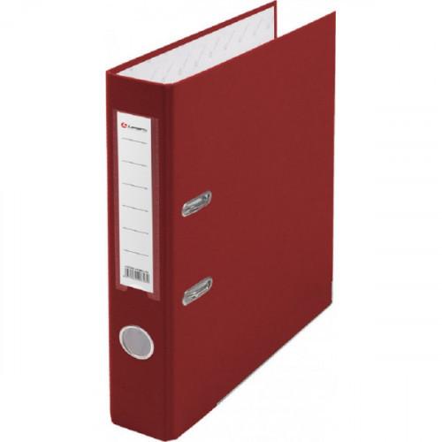 Папка с арочным механизмом 50мм, пвх/бум, красная, металл уголок, карман на корешке, Lamark