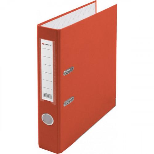 Папка с арочным механизмом 50мм, пвх/бум, оранжевая, металл уголок, карман на корешке, Lamark