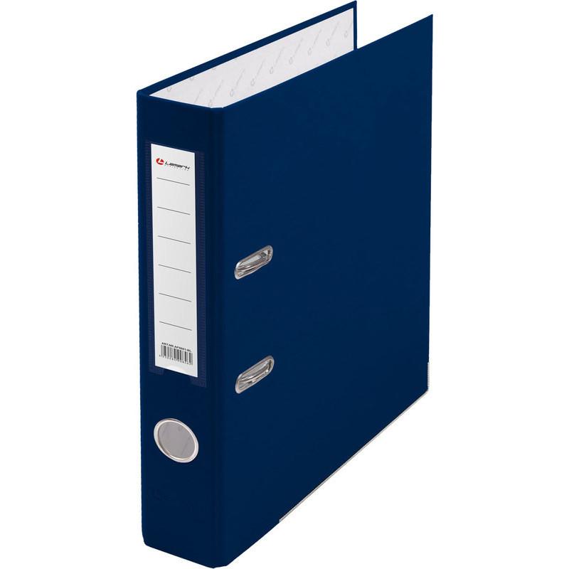 Папка с арочным механизмом 50мм, пвх/бум, синяя, металл уголок, карман на корешке, Lamark