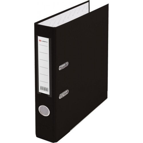 Папка с арочным механизмом 50мм, пвх/бум, черная, металл уголок, карман на корешке, Lamark