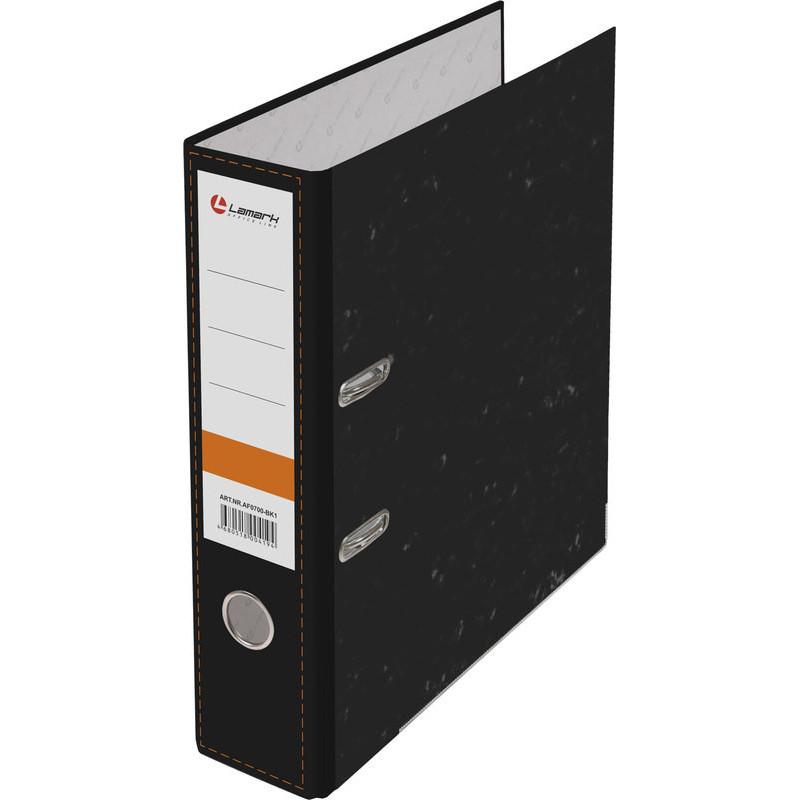 Папка с арочным механизмом 75мм, бумага/бумага, черный мрамор, металл уголок, Lamark
