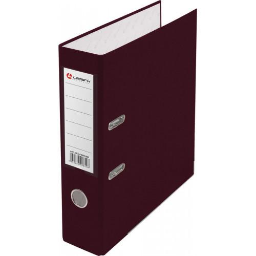 Папка с арочным механизмом 80мм, пвх/бумага, бордовая, металл уголок, карман на корешке, Lamark, 50 шт./упак, разобранная