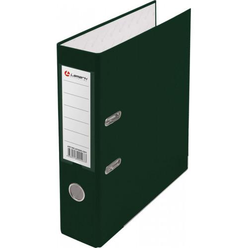 Папка с арочным механизмом 80мм, пвх/бумага, зеленая, металл уголок, карман на корешке, Lamark