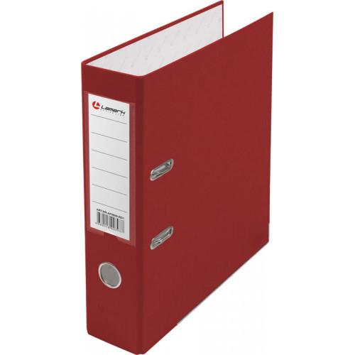 Папка с арочным механизмом 80мм, пвх/бумага, красная, металл уголок, карман на корешке, Lamark
