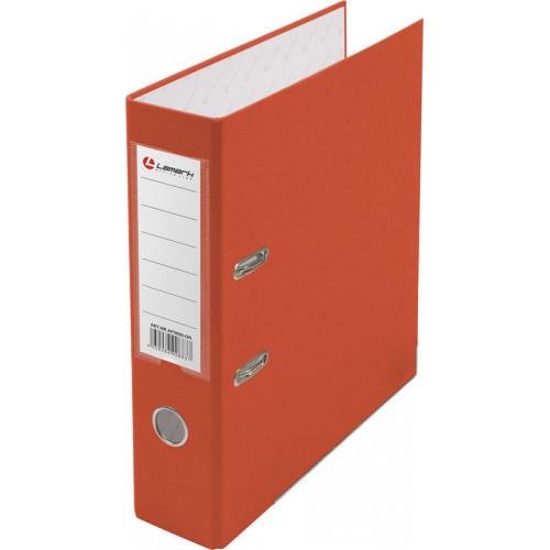 Папка с арочным механизмом 80мм, пвх/бумага, оранжевая, металл уголок, карман на корешке, Lamark, 50 шт./упак, разобранная