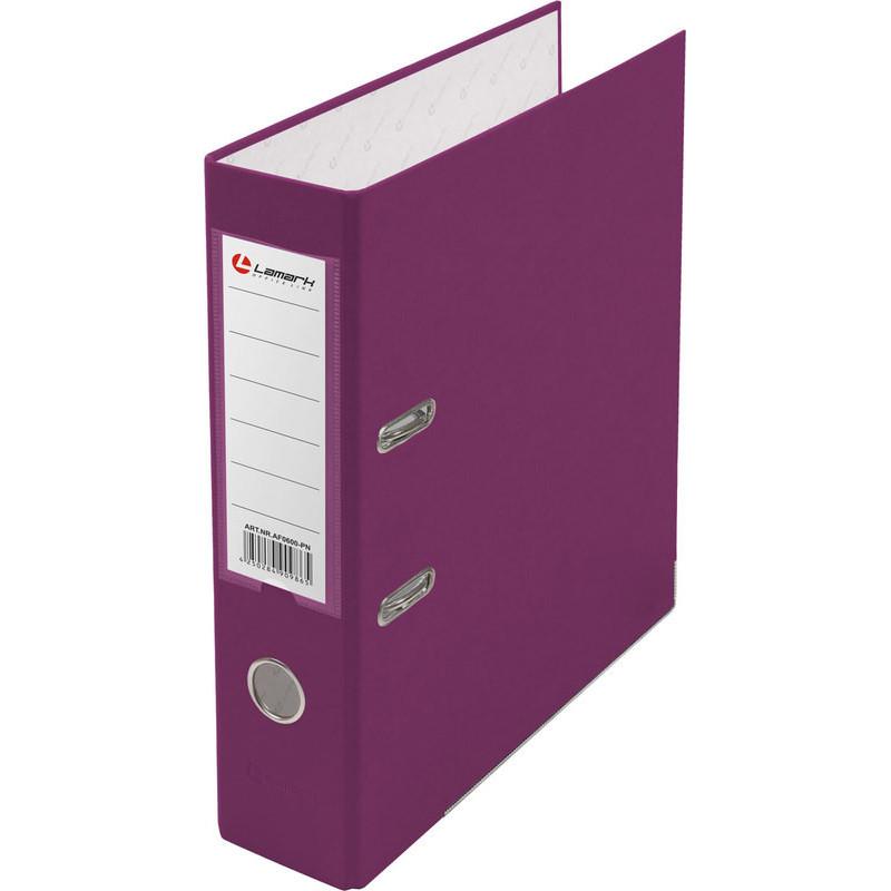 Папка с арочным механизмом 80мм, пвх/бумага, розовая, металл уголок, карман на корешке, Lamark, 50 шт./упак, разобранная