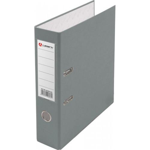 Папка с арочным механизмом 80мм, пвх/бумага, серая, металл уголок, карман на корешке, Lamark, 50 шт./упак, разобранная