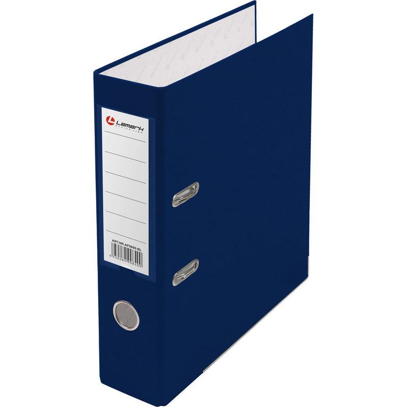 Папка с арочным механизмом 80мм, пвх/бумага, синяя, металл уголок, карман на корешке, Lamark, 50 шт./упак, разобранная
