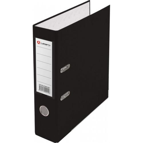 Папка с арочным механизмом 80мм, пвх/бумага, черная, металл уголок, карман на корешке, Lamark