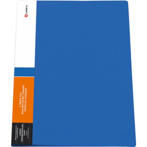 Папка 2 кольца диаметром 25 мм, корешок 32 мм, карман на корешке с индексной вставкой, 0,60 мм, синяя