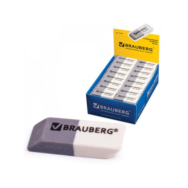 Ластик BRAUBERG 41х14х8 мм серо-белая в картонном дисплее 222461
