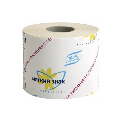 Бумага туалетная 1-слойная Мягкий знак белая с тиснением 51 метр
