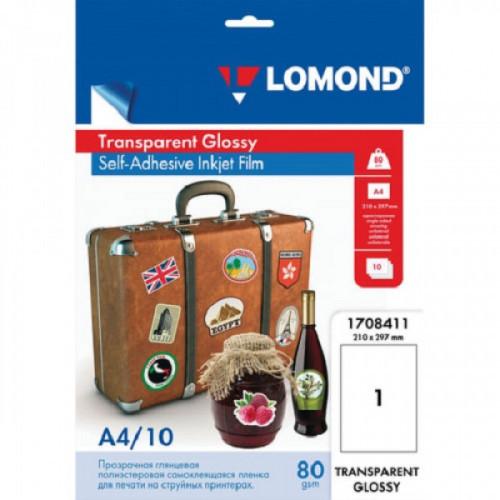 Пленка LOMOND для струйных принтеров, самоклеящаяся, прозрачная, 100 мкм, А4, 10 штук