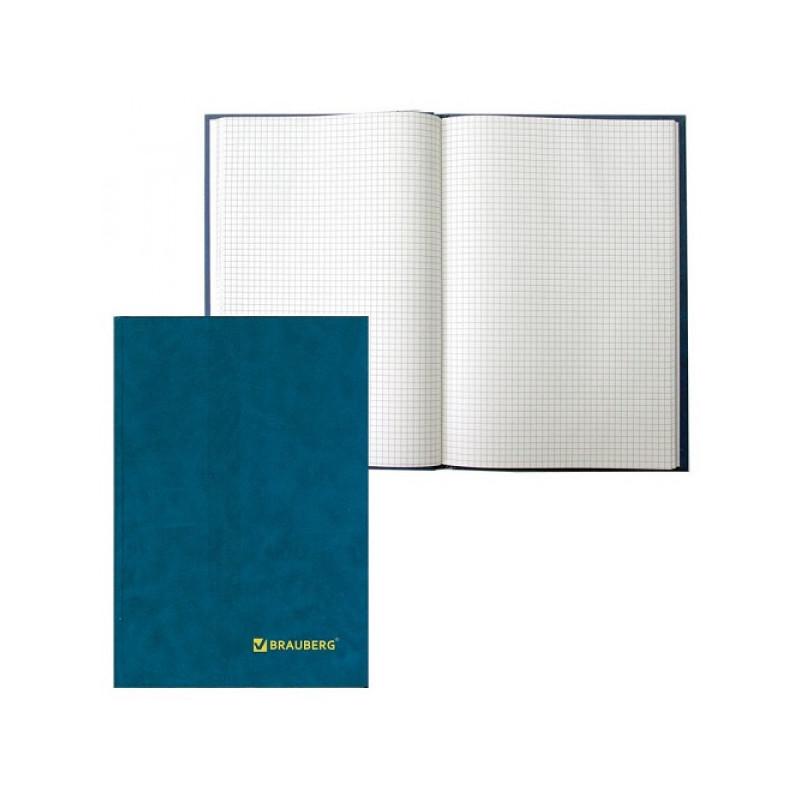 Книга учета 208 листов, А4 200*290 мм BRAUBERG, клетка, твердая обложка из картона, бумвинил, блок офсет, 130184
