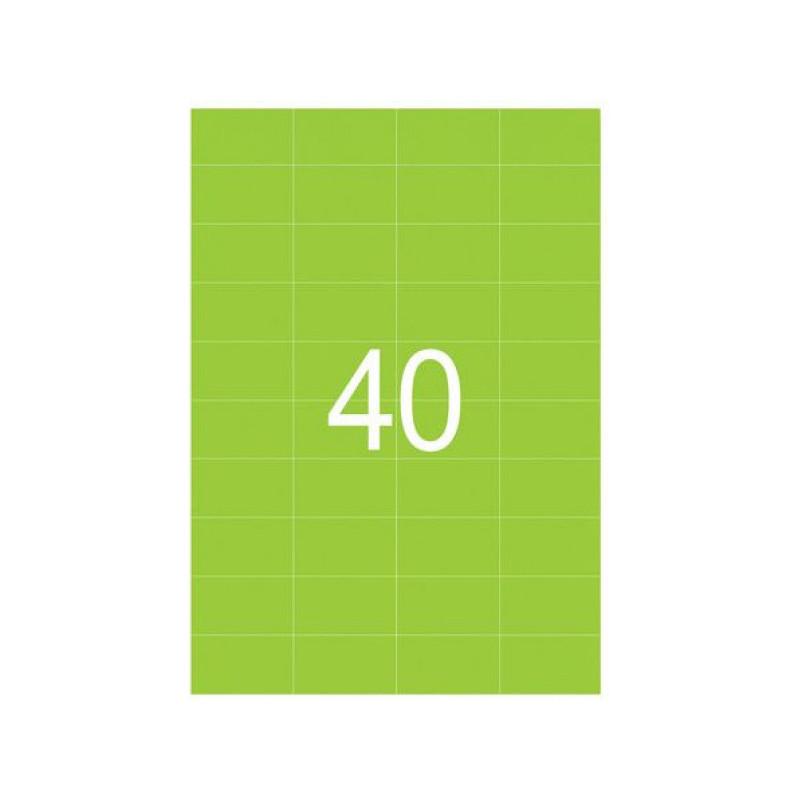Самоклеящиеся этикетки 52,5х29,7 мм, 40 этикеток, неоново-зеленая, 65 г/м2, 50 л., STAFF, 128839