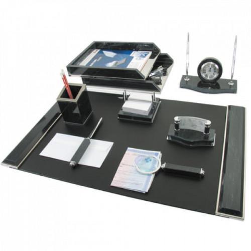 Набор настольный GALANT из мрамора 8 предметов черный мрамор двойной лоток часы