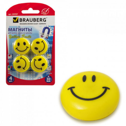 "Магниты BRAUBERG диаметр 30 мм 4 штуки ""СМАЙЛИКИ"" желтые в блистере 231727"