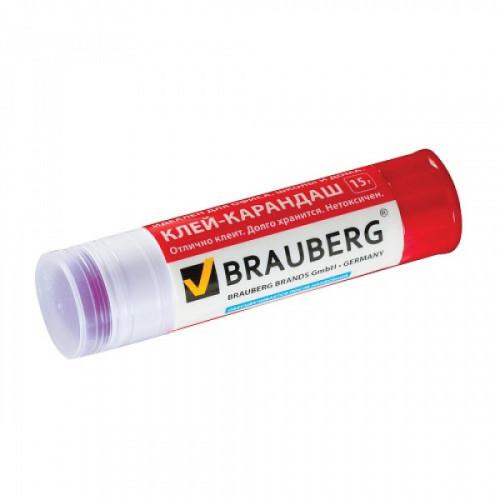 Клей-карандаш BRAUBERG, 15 г, обесцвечивающийся, цветной, 220874