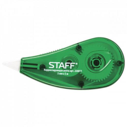 Корректирующая лента STAFF (5 мм х 5 м) корпус зеленый, блистер