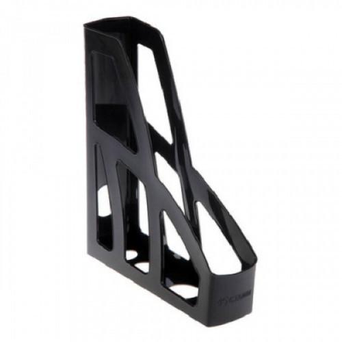 """Лоток вертикальный для бумаг СТАММ """"Лидер"""", ширина 75 мм, черный, полипропилен, ОФ100"""