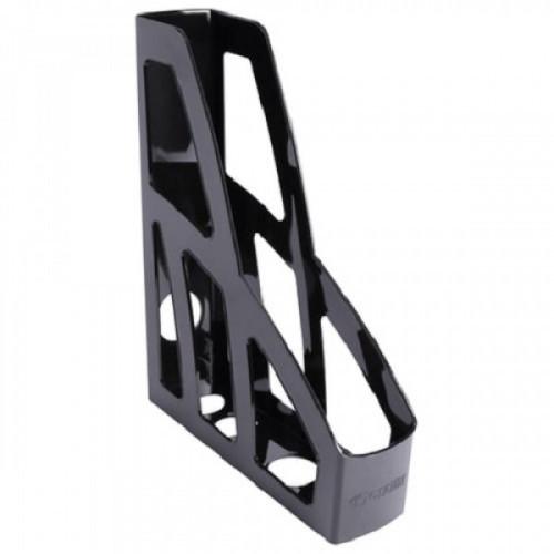 """Лоток вертикальный для бумаг СТАММ """"Лидер"""", ширина 75 мм, черный, ЛТ122"""