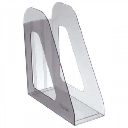"""Лоток вертикальный для бумаг СТАММ """"Фаворит"""", ширина 90 мм, тонированный серый, ЛТ703"""