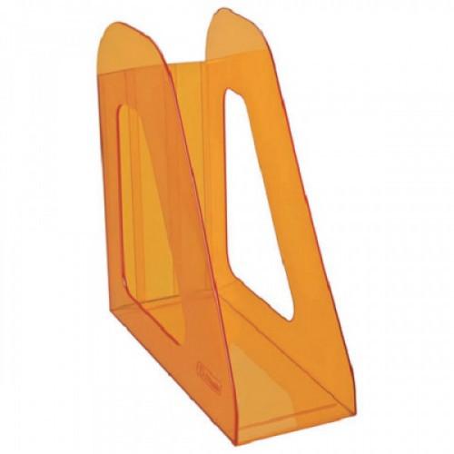 """Лоток вертикальный для бумаг СТАММ """"Фаворит"""", ширина 90 мм, тонированный оранжевый, ЛТ716"""