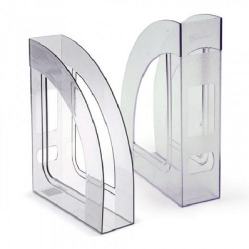 """Лоток вертикальный для бумаг СТАММ """"Респект"""", ширина 70 мм, прозрачный, ЛТ144"""