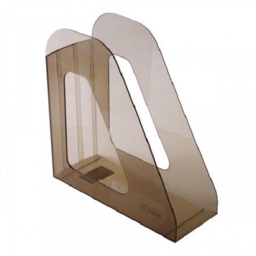"""Лоток вертикальный для бумаг СТАММ """"Фаворит"""", ширина 90 мм, тонированный коричневый, ЛТ704"""