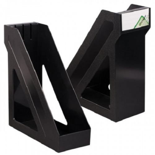 """Лоток вертикальный для бумаг СТАММ """"Базис"""", ширина 100 мм, черный, ЛТ32"""
