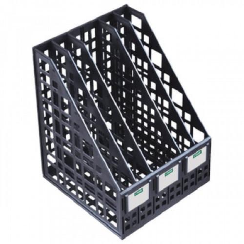 Лоток вертикальный для бумаг СТАММ, ширина 245 мм, 5 отделений, сетчатый, сборный, черный, ЛТ85