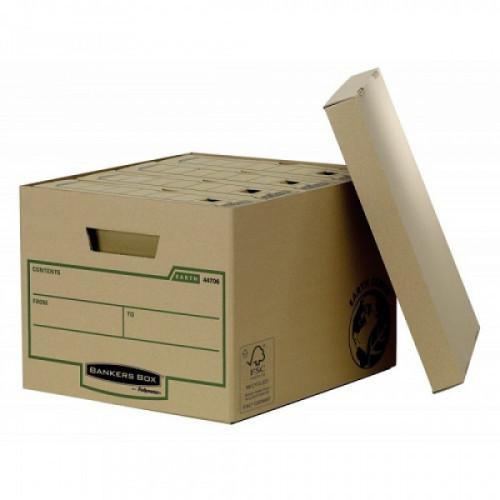 """Короб архивный FELLOWES (BANKERS BOX) """"Basic"""", 33,5x44,5x27 см, с крышкой, гофрокарт, коричневый, FS-00101"""