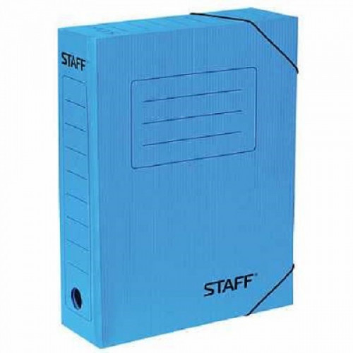 Папка архивная с резинкой, микрогофрокартон, 75 мм, до 700 листов, синяя, STAFF, 128879