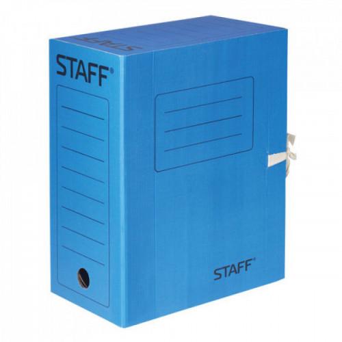 Папка архивная с завязками, микрогофрокартон, 150 мм, до 1400 листов, синяя, STAFF, 128876