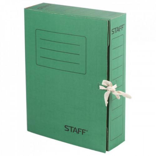Папка архивная с завязками, микрогофрокартон, 75 мм, до 700 листов, зеленая, STAFF, 128871