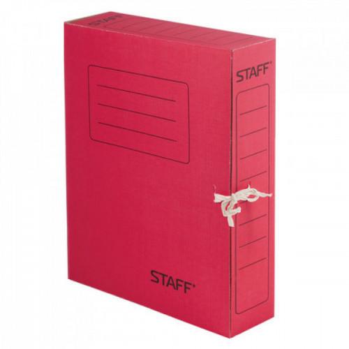 Папка для бумаг с завязками STAFF, микрогофрокартон, 75 мм, до 700 листов, красная, 128872