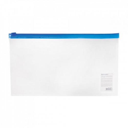 Папка-конверт на молнии BRAUBERG, 250х135 мм, прозрачная, молния синяя