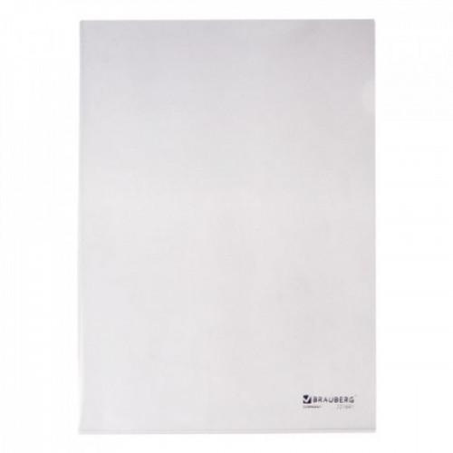 Папка-уголок жесткая BRAUBERG, прозрачная, 0,15 мм