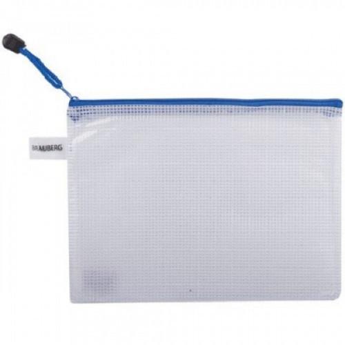 "Папка-конверт на молнии BRAUBERG ""Segment"", А5, 238х180 мм, ПВХ, сетка, 200 мкм, прозрачная, 223887"