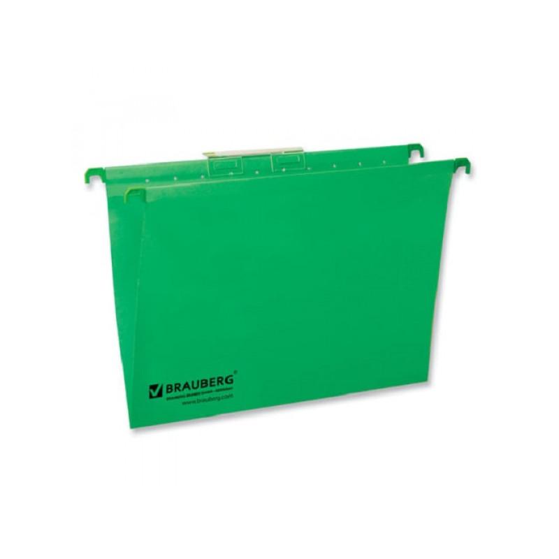 Подвесные папки картонные BRAUBERG(Италия), комплект 10 шт., 315х245 мм, до 80 л., А4, зеленые, 230 г/м2, табуляторы, 231791