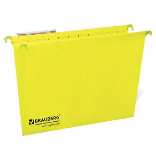 Подвесные папки картонные BRAUBERG(Италия), комплект 10 шт., 370х245 мм, 80 л., Foolscap, желтые, 230 г/м2, табуляторы, 231794