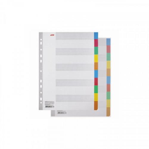 Разделители листов картонные А4 без надписей 10 цветов Hatber