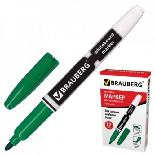 Маркер для досок BRAUBERG с клипом, эргономичный корпус, круглый наконечник 4 мм, зеленый, 150849